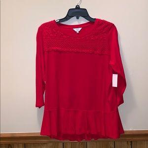 BNWT Red crocheted top 3/4 sleeve, flowy bottom PL